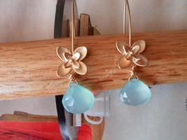 SWEET FLOWER PERUVIAN BLUE CHALCEDONY  Earrings GOLD - $23.03