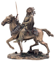 """Cheyenne Indian Riding Horse 9.5"""" X 7.5"""" High Bronze Statue Reproduction - $78.40"""