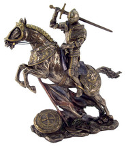 "Knight in Battle Riding Horse (Cold Cast Bronze) 11"" High Statue - $107.80"