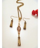 Bronze Lighthouse Pendant Necklace and Earrings Set - $14.99