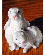 Cold Cast Porcelin 2 BUNNIES Figurines-Clean Cute-Detailed - $14.84