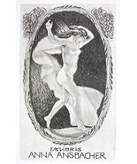 NUDE EX LIBRIS Young Woman Drapery Dancing in Wind - 1922 Lichtdruck Print - $17.96