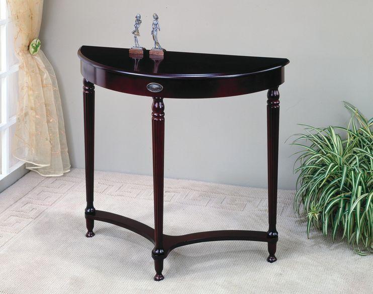 Foyer Table Display : Half moon accent tables entryway wood display rack sofa
