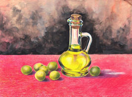 Akimova: OLIVES AND OLIVE OIL, food, green, garden - $9.50