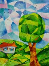 """Akimova: TREE, abstract,farm house, sky,wax painting,approx.9""""x12"""" - $10.00"""