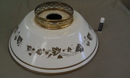 """9A81 Vtg Tole Style Metal Lamp Shade White/Gold LARGE 14"""" Across Bottom - $33.00"""