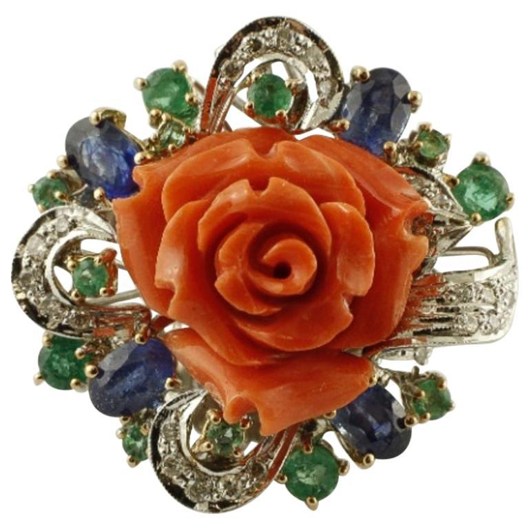 Primary image for Handcrafted Ring Diamonds, Emeralds and Blue Sapphires, Coral, 14 Karat Gold
