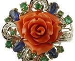 Handcrafted Ring Diamonds, Emeralds and Blue Sapphires, Coral, 14 Karat Gold
