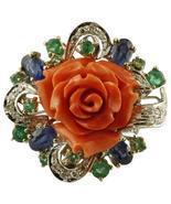 Handcrafted Ring Diamonds, Emeralds and Blue Sapphires, Coral, 14 Karat ... - $2,340.00