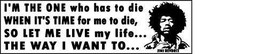 To Die My Life The Way I Want To Jimi Hendrix Vintage 3 X 11 Vinyl Music Sticker - $4.50