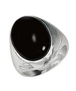 Men's Black Onyx Ring, Bold Oval Center Gemstone in Solid .925 Sterling ... - $68.97