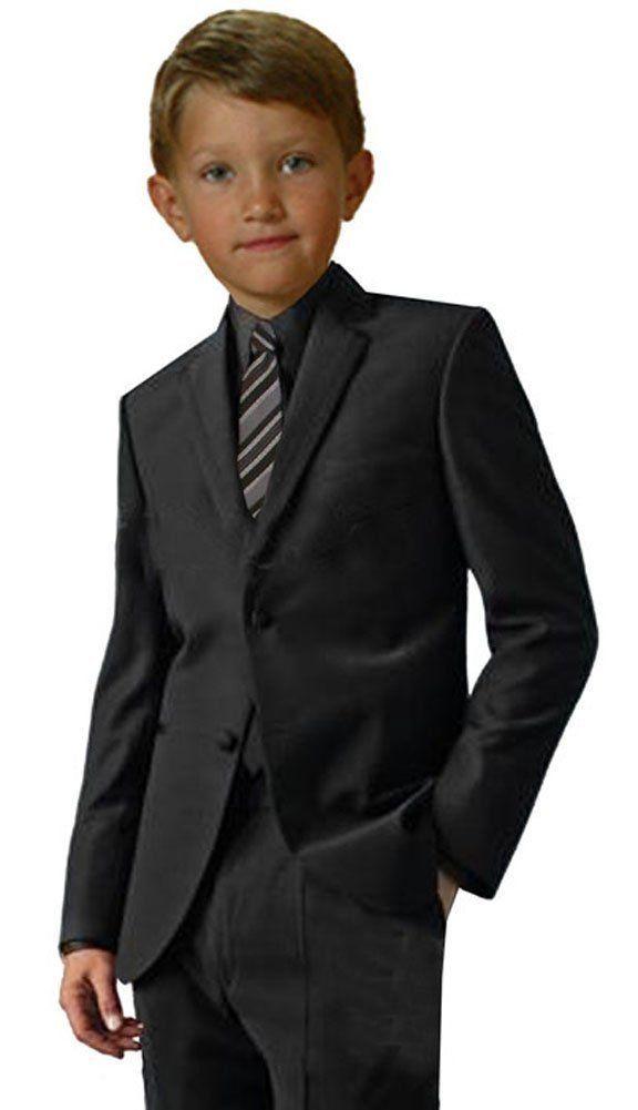 2784b84f22e G191 Black Shirt Silver Tie Boy Formal Tuxedo Tux Suit Set Sizes Baby to  Teens