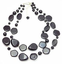 Auralee & Co. Black Pebble Lucite Double Strand Fashion Statement Necklace - £17.32 GBP