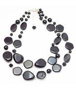 Auralee & Co. Black Pebble Lucite Double Strand Fashion Statement Necklace - $21.00