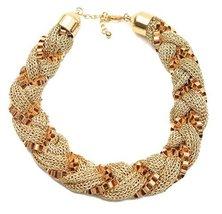 Gold Tone Mesh Box Chain Fashion Statement Necklace - $27.00