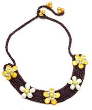 Auralee & Co. White Pearl Yellow Shell Flower Choker Collar Necklace Wea... - $19.00