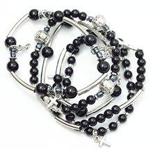 Auralee & Company Black Bead Rhinestone Cross Charms Five Piece Stretch ... - $19.00