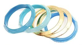 Auralee & Company Turquoise Light Blue Gold Five Piece Bangle Bracelet Set - $19.99