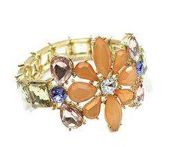 Auralee & Company Peach Lavender Purple Flower Stretch Fashion Bracelet ... - $17.00