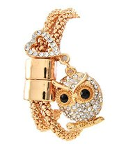 Rhinestone Owl Heart Charm Double Strand Gold Tone Metal Bracelet Magnet... - $24.99