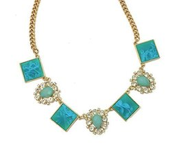Auralee & Companty Teal Marbled Acrylic Crystal Geometric Teardrop Necklace - $17.99