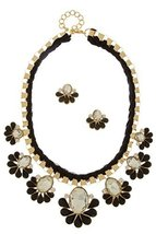 Black Acrylic Flower Woven Fashion Statement Necklace Set  - $32.99