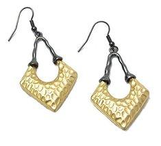 Auralee & Co. Gold Tone Hammered & Hematite Arrow Dangle Earrings [Jewelry] - $14.99
