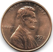 United States Unc 1971-D Lincoln Memorial Cent~Free Shipping - $2.37