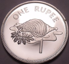 Rare Proof Seychelles 1982 Rupee~Only 5,000 Minted~Triton Conch Shell~Fr... - $19.97