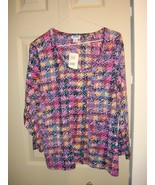 Acorn 3/4 Sleeve Plaid Print Blouse Size L - $18.99