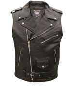 Allstate Leather Men's Sleeveless Motorcycle Jacket Buffalo Leather Vest... - $99.00