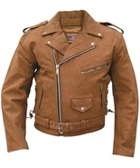 Allstate Leather Men's Brown Motorcycle Jacket Buffalo Leather AL2015 - $199.00+