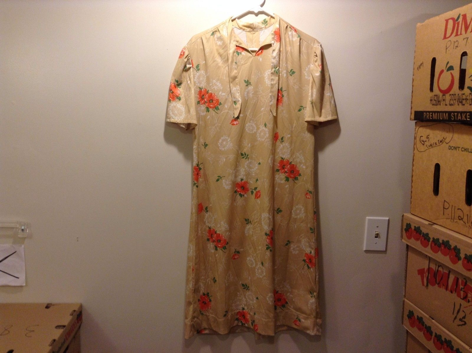 Beige Handmade Floral Print Dress