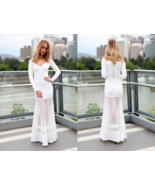 white off the shoulder maxi dress sheer mermaid... - $29.99