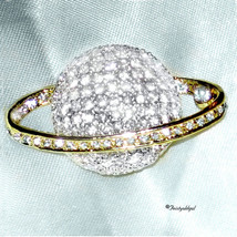 14K 2 TONE GP CUBIC ZIRCONIA PAVE SATURN PLANET... - $20.50
