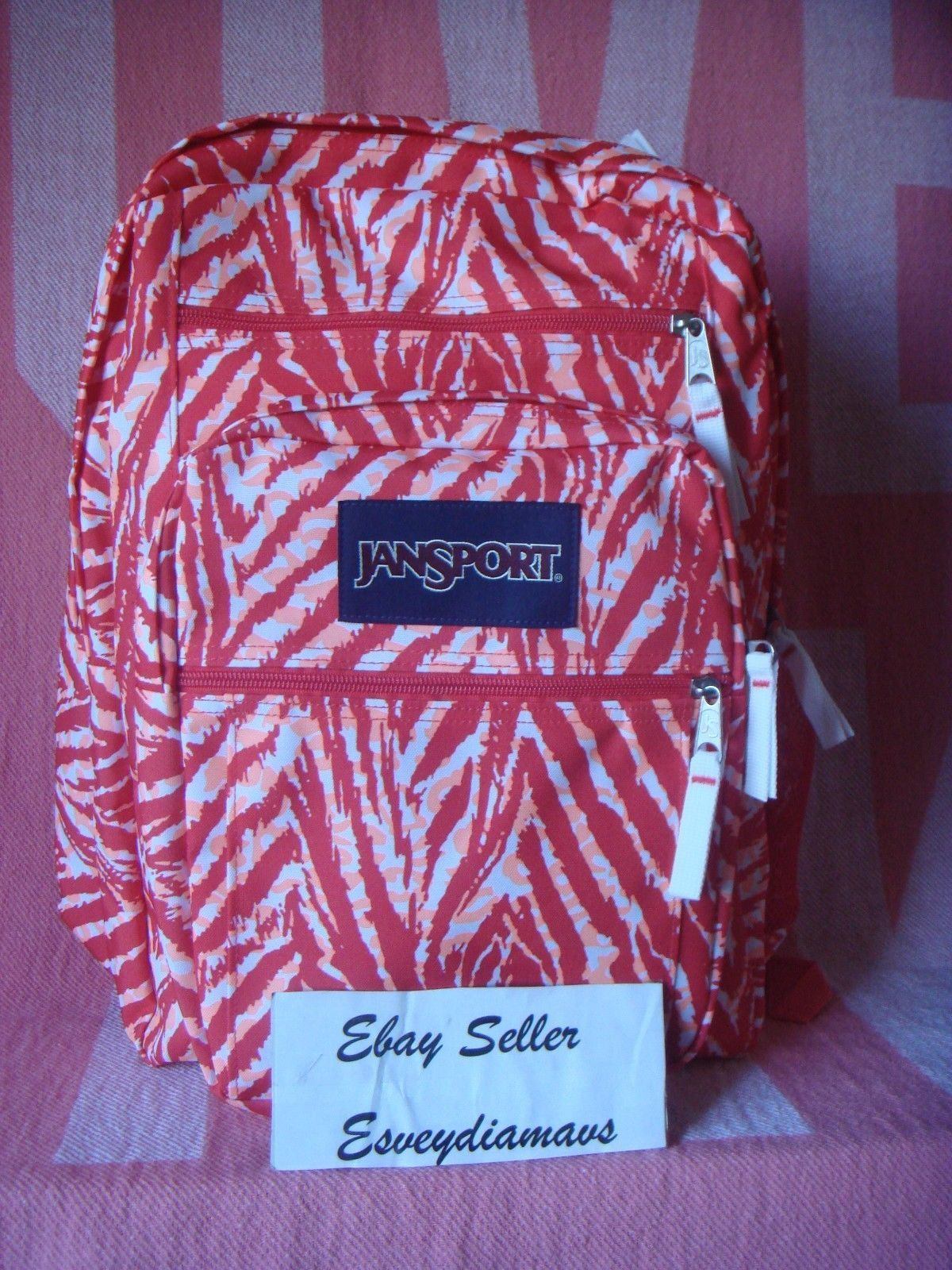 NWT JANSPORT Big Student Backpack Laptop Bag Large Size Coral Peaches wildl!!