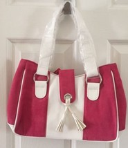 NEW Estee Lauder Hot Pink Ultra Suede Handbag Purse 4x7x13 Medium Leathe... - $18.46