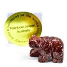 Rainbow Jasper Gemstone Tiny Miniature Bear Figurine Hand Carved in China