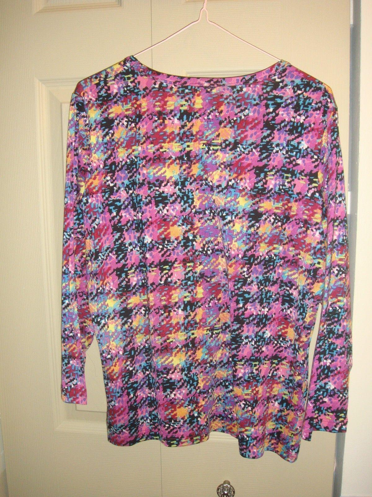 Acorn 3/4 Sleeve Plaid Print Blouse Size L