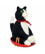 Kitty Sledding 471376 Cat on Sled Wild Woolies Felted Sheep Wool Ornament - $16.83
