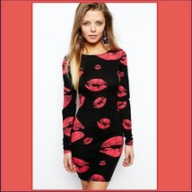 Hot Red Kiss Lips Black Body-hugging Stretch Long Sleeve Low Back Pencil Tunic