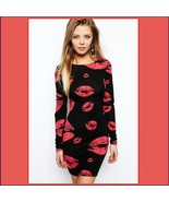 Hot Red Kiss Lips Black Body-hugging Stretch Long Sleeve Low Back Pencil... - $64.95