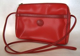 Red Liz Claiborne Purse Leather Trim Handbag Lined Pockets Zipper Shoulder Bag - $27.00