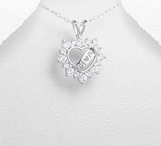 Gift For Mom CZ Heart Pendant Necklace Sterling Silver Mothers Day Valen... - $29.13 CAD