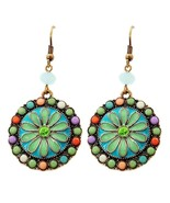 Multi Color Acrylic Bead Enamel Dangle Flower Earrings Burnished Gold Tone - $19.97