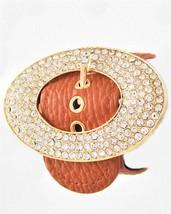 Belt Buckle Bracelet Gold Tone Camel Brown Faux Leather - $32.49