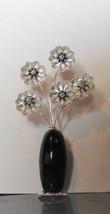 Handmade Sterling Silver Miniature Flowers in Black Agate Vase - $29.40