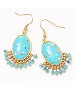 Turquoise Acrylic Paua Shell Chip Faceted Bead Fringe Dangle Earrings Go... - $12.79