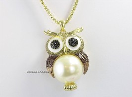 Trendy Owl Necklace Topaz Rhinestone Faux Cream Pearl 26 inches - £12.85 GBP
