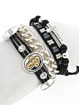 Rhinestone Believe Faith Cross Seed Bead Silver Chain Wrap Friendship Br... - $17.78